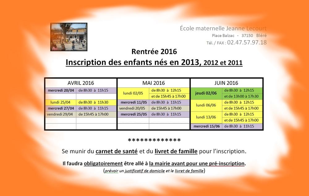 dates inscriptions rentrée 2016
