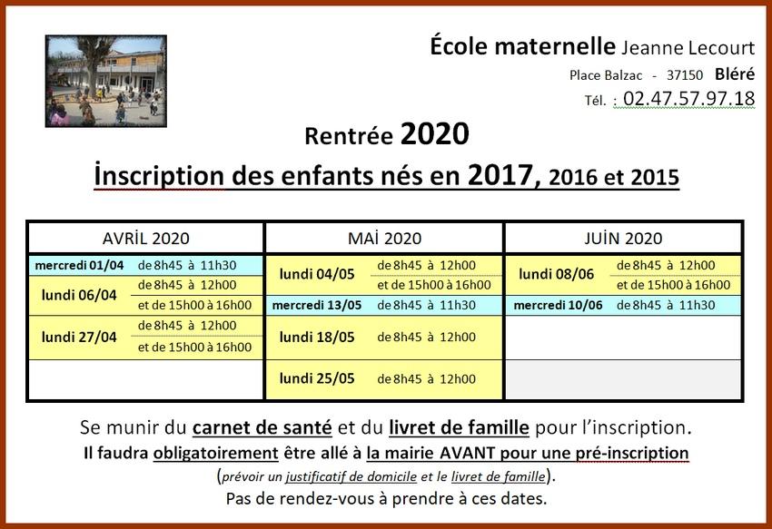 inscriptions rentrée 2020