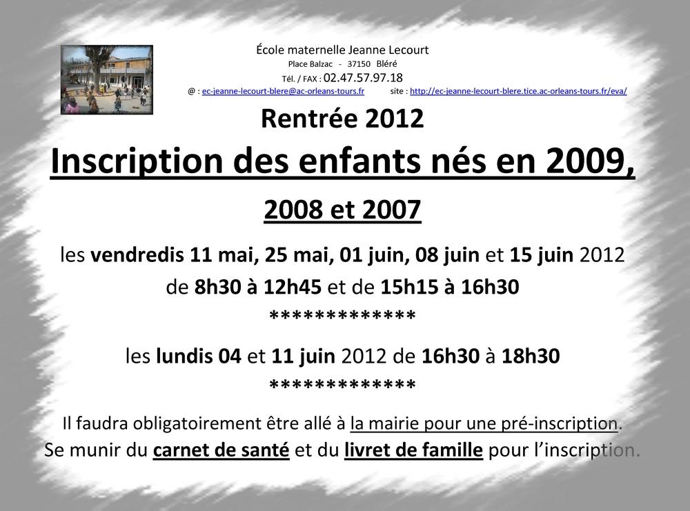 dates inscriptions 2012
