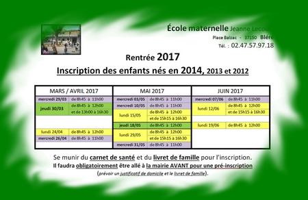 dates inscriptions rentrée 2017